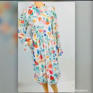 New Gibson & Latimer White Floral Casual Dress